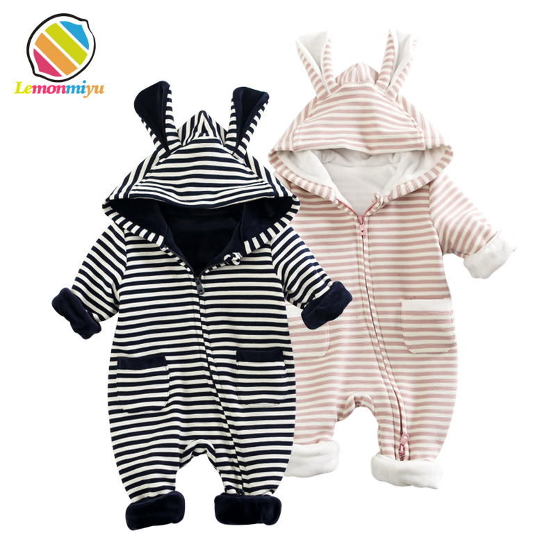 Baby Boys Girls Warm Winter Romper Cotton Newborn Fleece Christening Rompers Birthday 1st Christmas Thick Jumpsuit Kids Clothes cotton baby rompers set newborn clothes baby clothing boys girls cartoon jumpsuits long sleeve overalls coveralls autumn winter