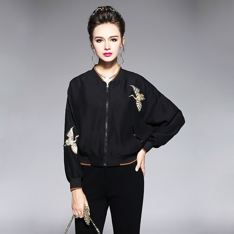 Beaded Embroidery Bomber Jacket Women Zip Up Black Light