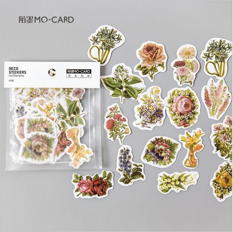 45Pcs/pack Retro Blossoming Flowers Gold Gilding Hot stamping Decoration Sticker DIY Planner Scrapbook Index Phone Album Sticker