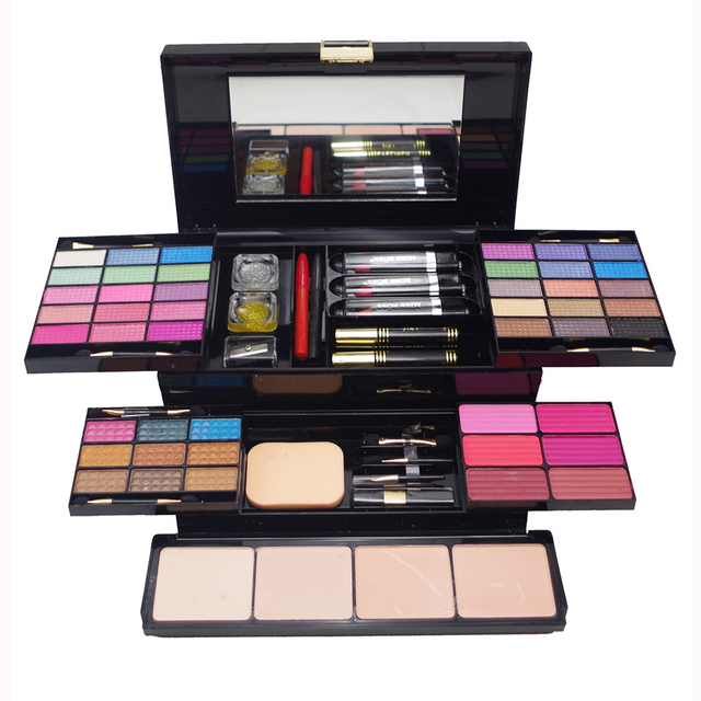Newest Professional Large Makeup Case Full Collection Eyeshadow Blush Concealer Lipstick  MakeUp Kit Palette 3D Collection Gift