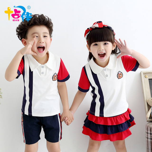 Escuela ropa para niños niñas tenis niños deportes traje uniformes de  verano niños edad tamaño 6 bdb72e9a042a5