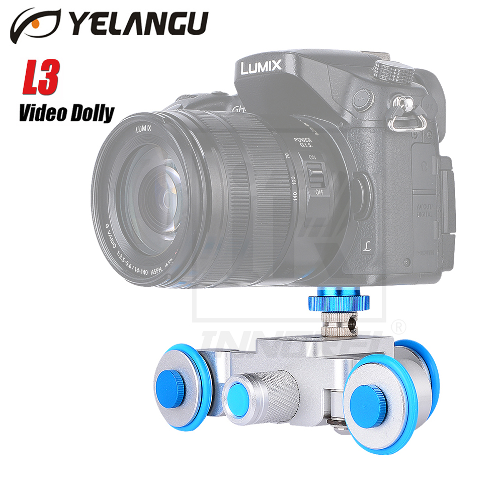 цена на YELANGU L3 intelligent Electric Video Dolly 3-Wheel Pulley Car Rail Rolling Track Slider Skater For DSLR Camcorder Cellphone