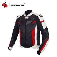 BENKIA Motocycle Racing Jacket Coat Motorcycle Windproof Riding Off Road Racing Sports Jacket With Protector Guards