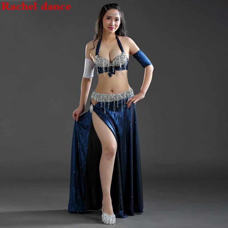 Performance 5 Colors Women Dancewear Professional Size S-L 4pcs Outfit Bra Belt Skirt Long Oriental Beads Costume Belly Dance