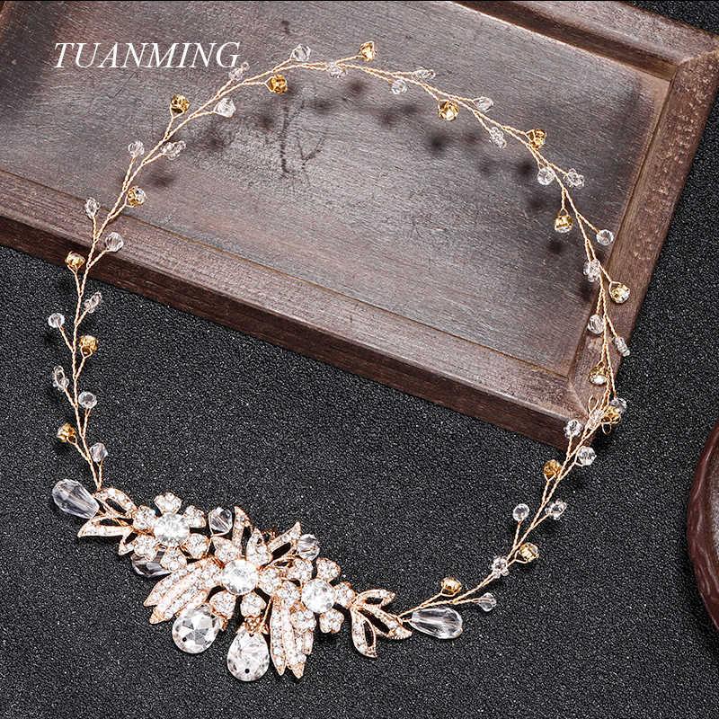 Bridal Crystal Hairband Rhinestone Flower Bride Headbands Wedding Head Jewelry Women Crystal Headband Tiara Hair Ornaments