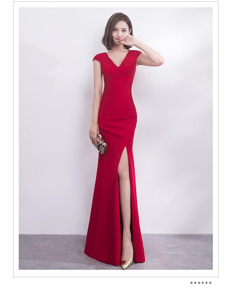 Vestido De Festa New Wine Red Bridesmaid Dress Modest High Slit V neck Slim  Sheath Elegant Simple Bride Wedding Prom Party Gown 584a91cfaca3