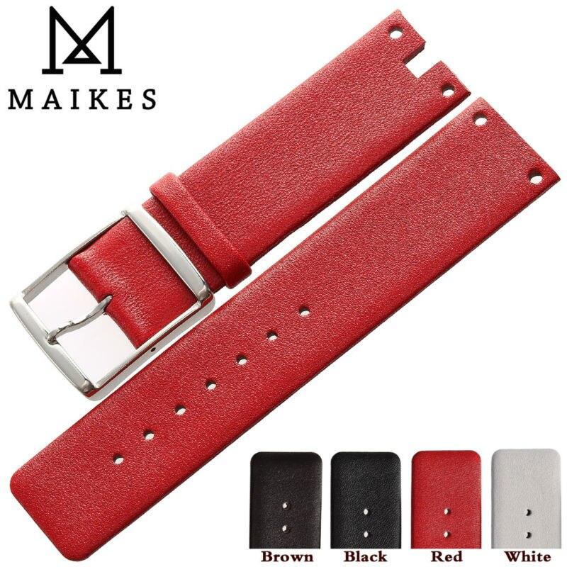 Maikes heiße verkäufe armband edelstahl schnalle rot dünnen echtes leder uhrenarmband armband...