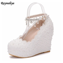 Women Pumps High Heels Sexy New Fashion Wedges Platform 2018 Spring Autumn Round Toe Party Wedding Shoes White Handmade XY-A0067 2016 new fashion women platform round toe sexy thin heels high shoes spring pu beading pumps party shoes black white color 929 1