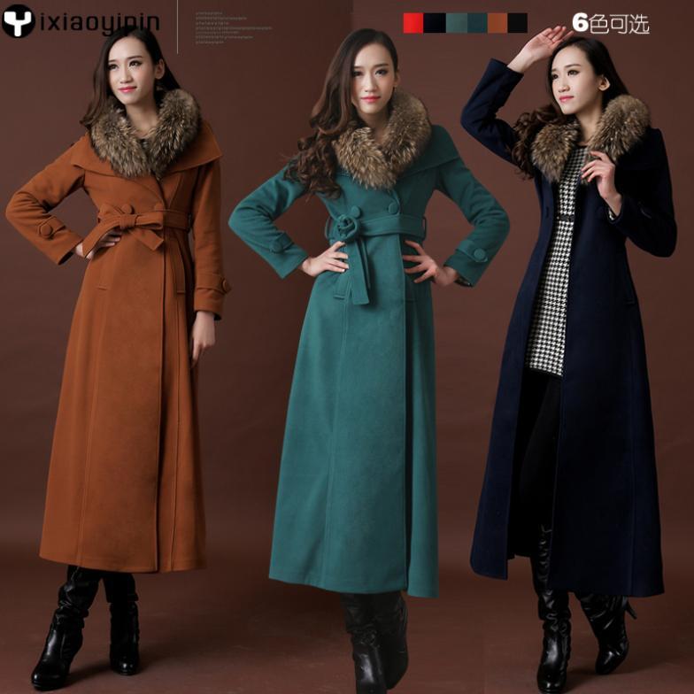 Popular Winter Long Fur Collar Wool Cashmere Trench Coat-Buy Cheap ...