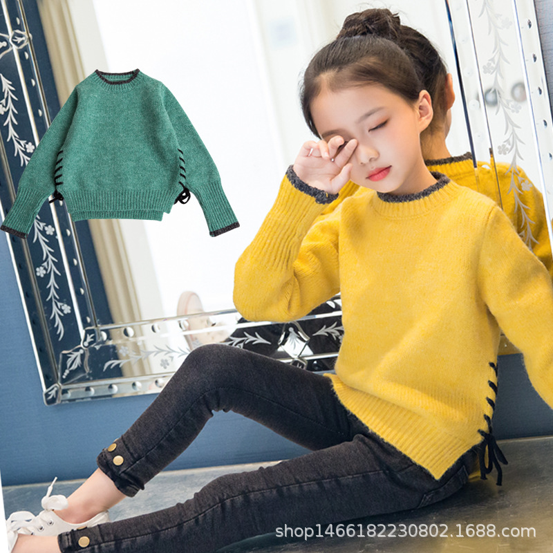 2018 Sweater For Girls Winter Autumn Green Yellow Christmas Sweater 4 5 6 7 8 9 10 11 12 13 Y Toddler Girl Sweater Kids Clothes v neckline fur cuff sweater page 9