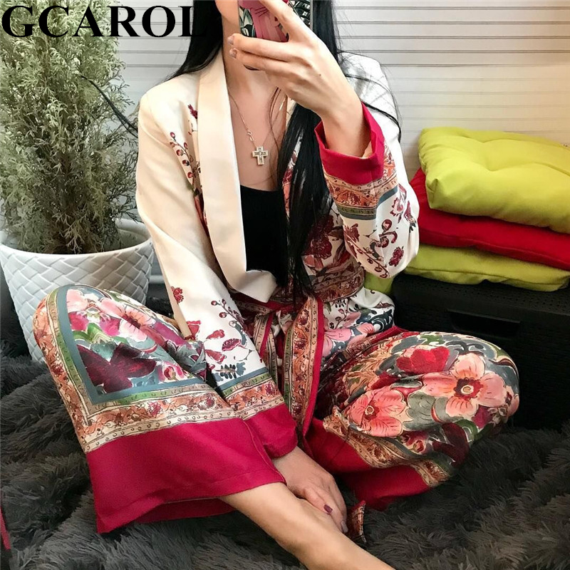 GCAROL 2019 Early Spring Notched Collar Women Sets Floral Blazer Sashes Vintage Jacket Elastic Waist Wide Leg Pants Two Pieces