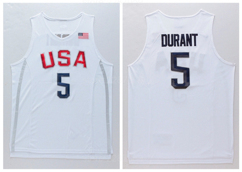 2264baf4225f ... usa ediwallen 2016 usa dream twelve team basketball 5 kevin durant jersey  men white navy blue