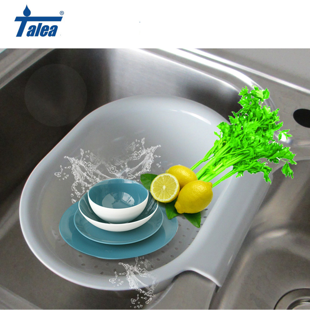 Talea Hight Quality Kitchen Tray Dish Drainer Drying Sink  Drain Plastic Basket Vegetable Fruit Drying  Washing Holder