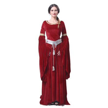 ROLECOS New Arrival Red and Blue Women's Halloween Evening Dresses Fashion Long Jurken with Belt Retro Ball Gowns Dresses GC209 2
