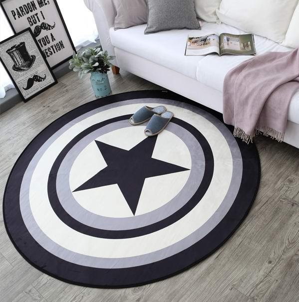 Тенденция круговой ковер Marvel Капитан Америка щит Одеяло гостиная Настольный коврик сп ...