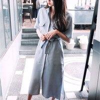 Free Shipping 2016 Hot European Style New Spring And Summer Short Sleeved Shirt Dress Slit Dress