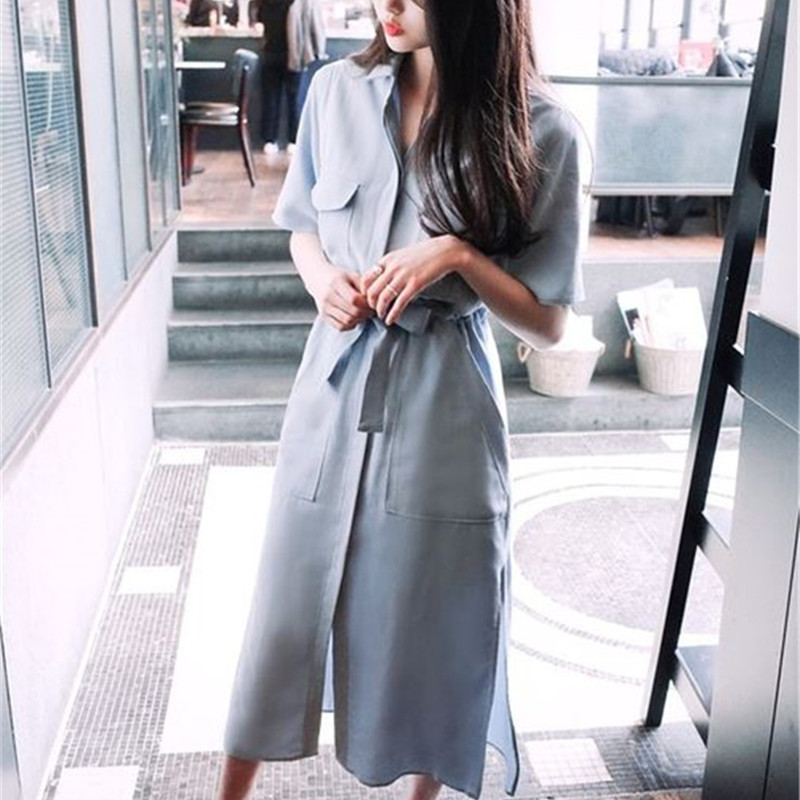 Free Shipping 2017 Hot European Style New Spring and Summer Short-sleeved Shirt Dress Slit Dress for Women Dress Female Vestidos