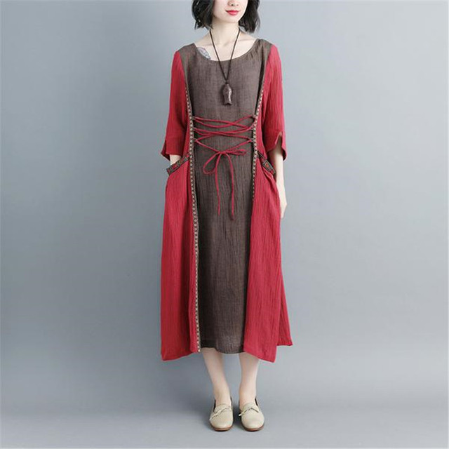 9fad8cb8922d3 BUYKUD Vintage Women Maxi Dress Casual Plus Size Women Ethnic Half Sleeve  Pullover Long Dress Fashion