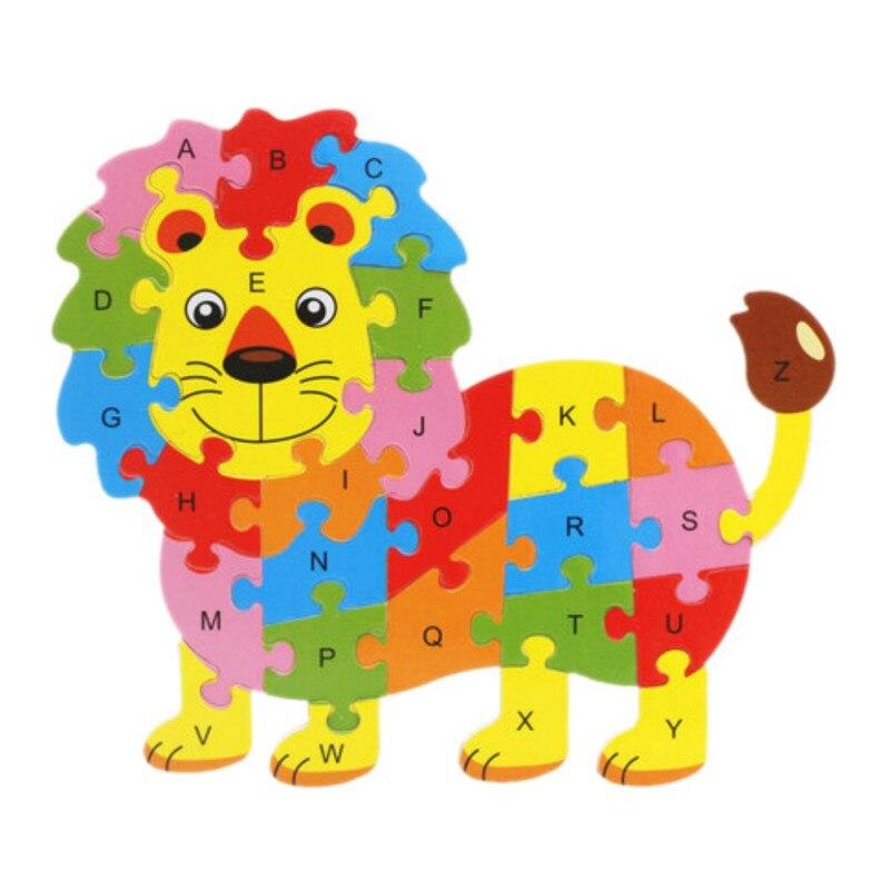 Stylish Children\'s Toys Early Childhood Educational Cartoon Animal 26 English Alphabet Puzzle Blocks Cognitive Wooden Toys