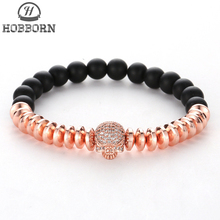 HOBBORN Trendy Natural Stone Beads Women Men Bracelet Handmade Hematite Black Matte Onyx Crystal Skull Unisex Bracelets Jewelry