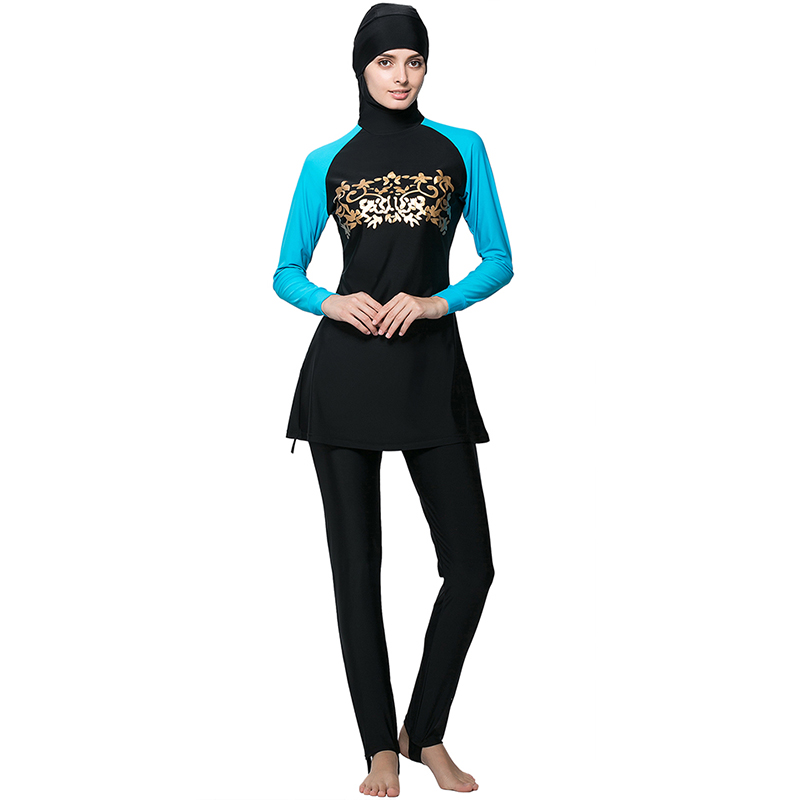 ФОТО Make Difference Modest Girls Muslim Swimsuit Costumes Full Cover Plus Size Muslim Women Swimwear Islamic Swimwear Hijab Burkinis