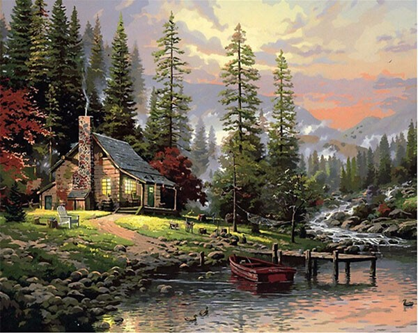 RUOPOTY Frame Field House Landscape DIY Painting By Number Handpainted Oil Painting Wall Art Picture For Home Decoration 40x50cm