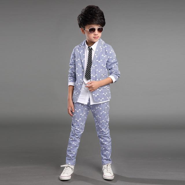 2015 Venta de ropa de los niños del juego de los muchachos, la Primavera y El Otoño de impresión chico nuevo de Corea del juego de los niños pequeño traje + pantalones 2 Unids 3 Color