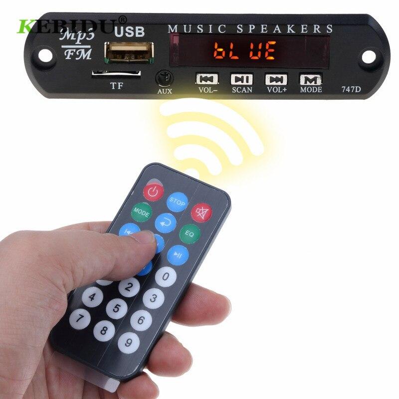 Kebidu 5V 12V MP3 WMA Decoder Board Car USB Bluetooth Audio Module USB FM Aux Radio With Remote Control Build In Car Speaker