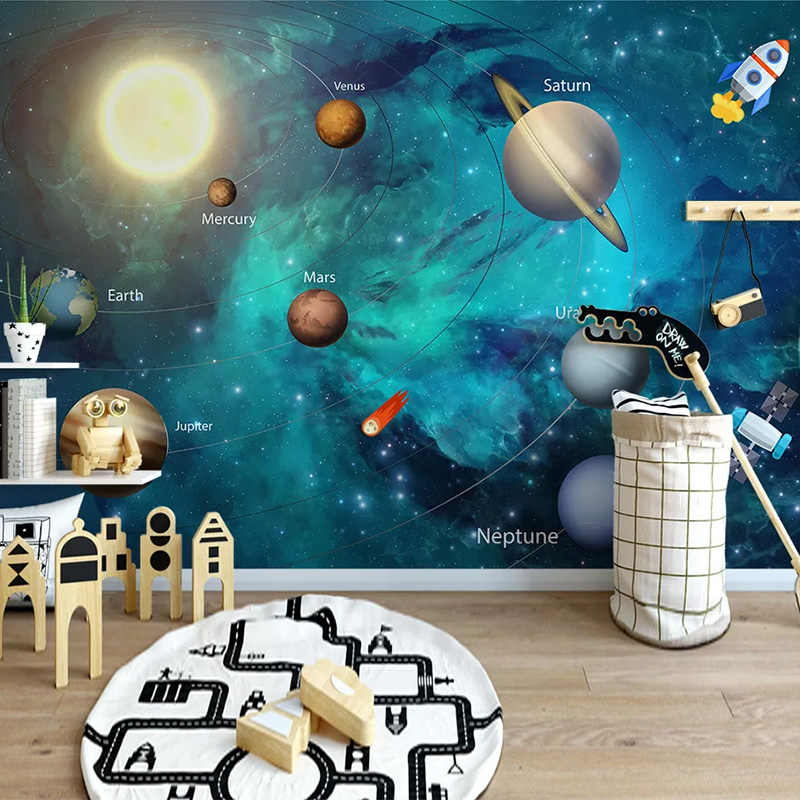 CUSTOM Self-Adhesive กันน้ำภาพจิตรกรรมฝาผนังวอลล์เปเปอร์ 3D มือวาด Space Universe เด็กสติกเกอร์เด็กการ์ตูนวอลเปเปอร์