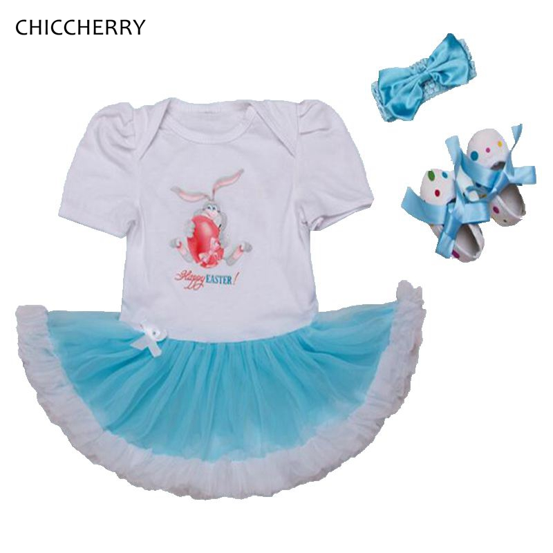 Happy Easter Outfits For Baby Girls Lace Petti Rompers Dress Headbands Crib Shoes Newborn Clothes Kids Tutu Sets Roupas De Bebe