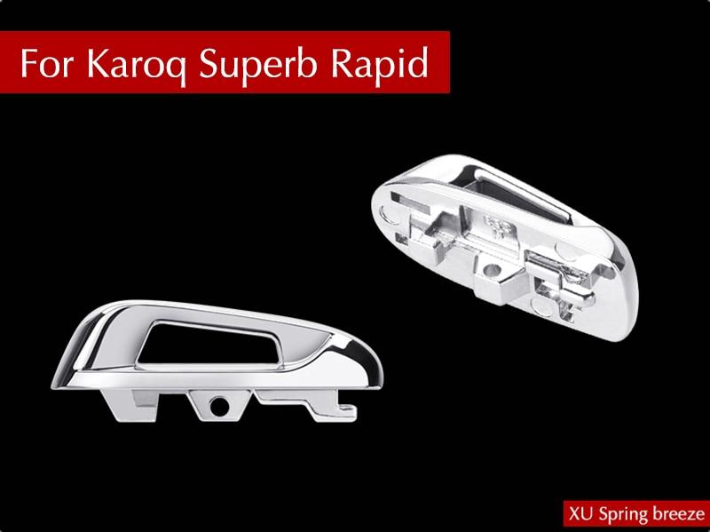For Skoda Karoq Superb Rapid 2016 2017 2018 Car Refit Key Base Cover Trim Sticker Car Styling lx 4846 universal key ignition ring decorative sticker for car silver