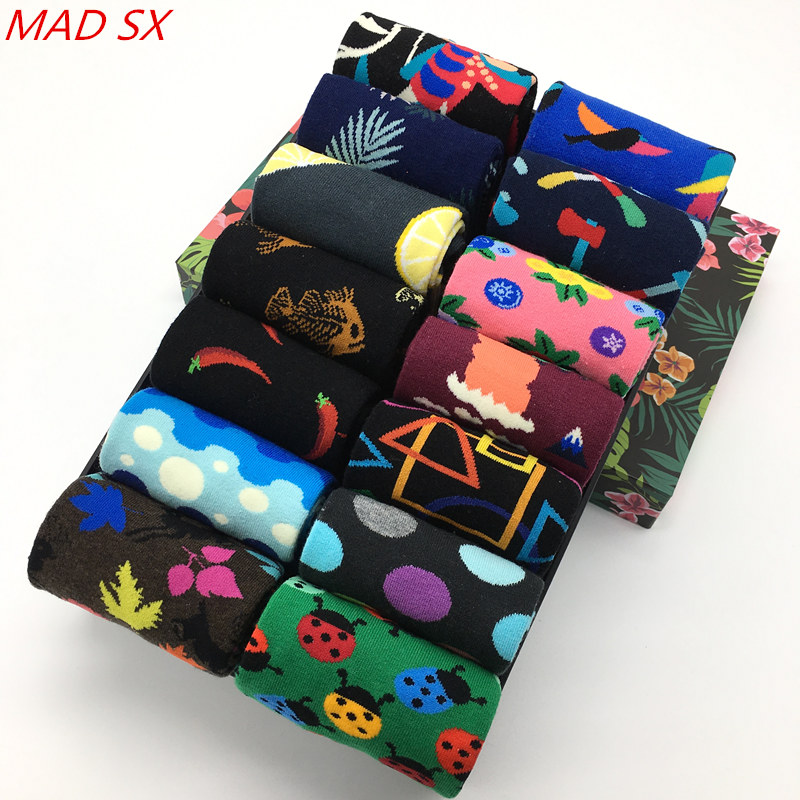 10 Paare/los Mode Design Stil Bunte Männer Socken Unisex Funky Gemusterte Hüfte Hop Kleid Socken Baumwolle Lustige Glückliche Socken