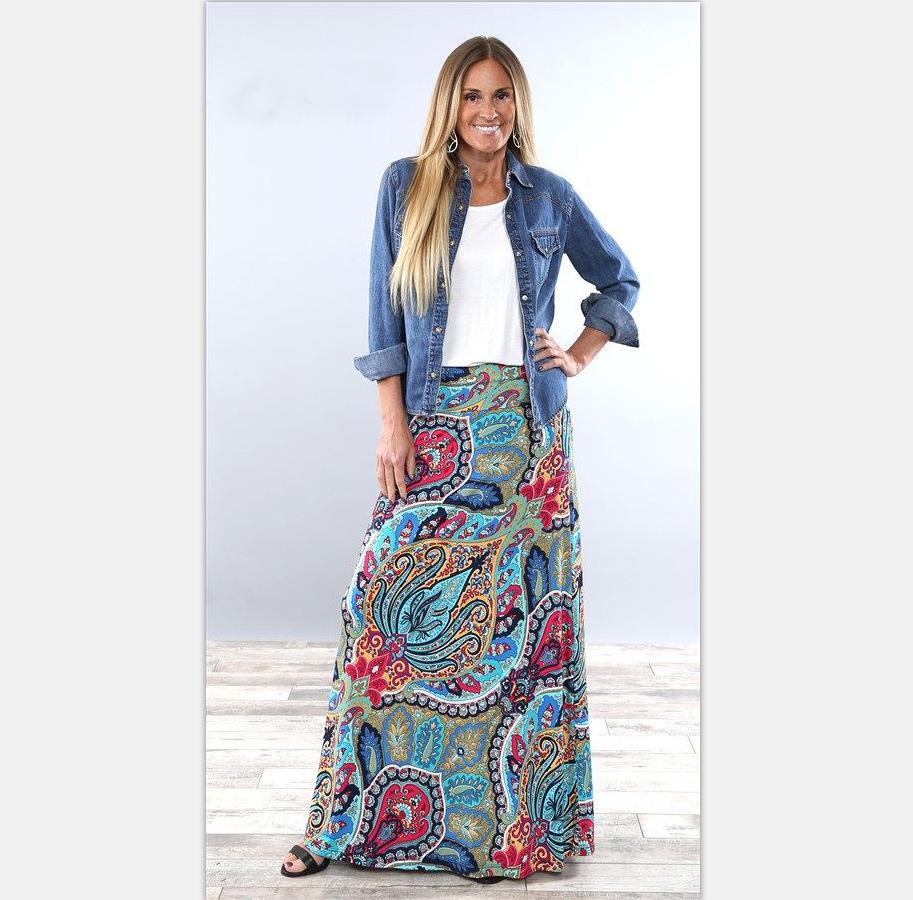 TUHAO Bohemian Women's Skirts Plus Size 3XL 2018 Spring Summer Fashion Floral Print Long Skirts Casual Ladies Skirt LM45