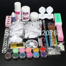 EM-110  Free Shipping New Pro Acrylic Powder Liquid Glitter Brush Tweezer Primer Nail Art Tips Tools Kit Set
