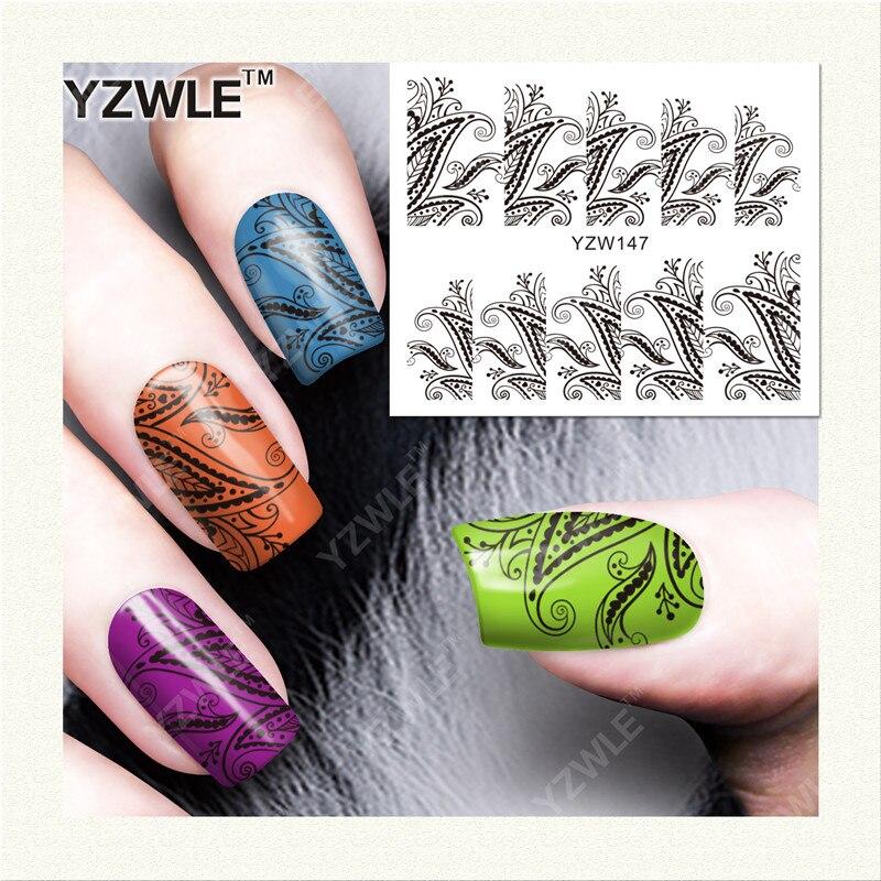 YZWLE 1 Листов DIY Наклейки Ногтей Вода Трансферная Печать Наклейки Аксессуары Для Маникюра Салона (YZW-147)
