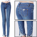 Denim Time-limited Skinny Mid Stripe Cotton Women Jeans 2015 New Spring Light-colored Jeans Women's Rhinestone Feet Pencil Pants