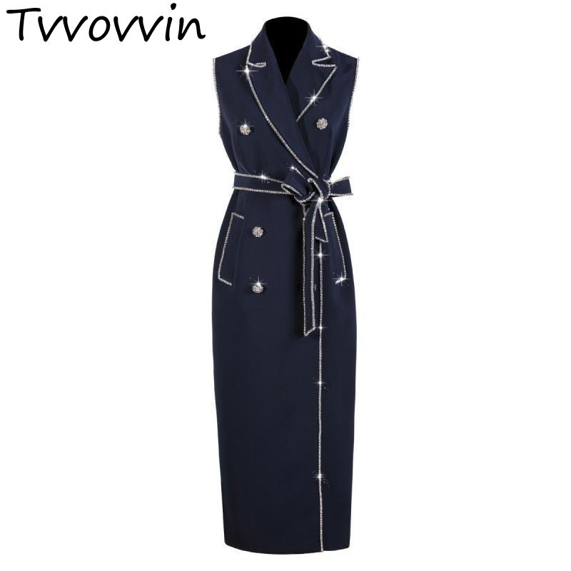 Women Dresses Temperament Vintage Dress Notched Sleeveless Double Breasted Long Dress Water Chain Bow Lace Up
