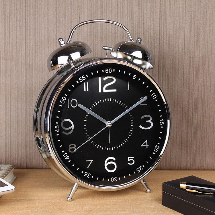 8 pouces Alarme Horloge Rétro Montre Table Métal Sonne Cloche Numérique Table D'alarme Horloges Salon Chambre Décor À La Maison