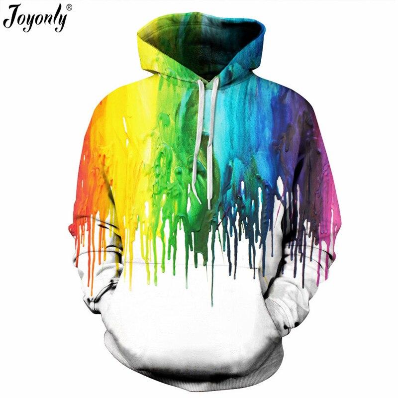 Joyonly 2018 Autumn Winter New Fashion Thin 3d Sweatshirts Women Men Hooded Hoodies Print Colorful Striped Paint Hoodie Clothing