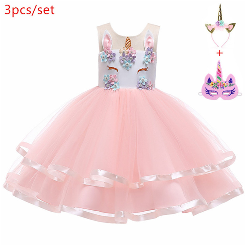 pink Floral cosplay unicorn Summer   Dress   for Children   Flower     Girls     Dress   Party Wedding   Dress   Elegent Princess ball gown Vestidos