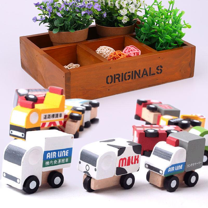 12pcs wooden mini car model kids children play fun wood portble toys setchina