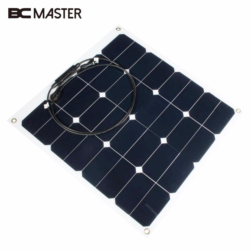 BCMaster Practical Efficiency 12v 50w Soft Flexible Solar Panel Monocrystalline Tool Solar Cells Power Bank Charger Charging