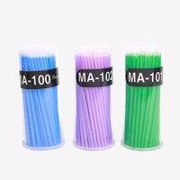 Biomaser 100Pcs/Pack Einweg Make-Up Pinsel Individuelle Lash Entfernen Werkzeuge Tupfer Micro pinsel Wimpern Verlängerung Werkzeuge