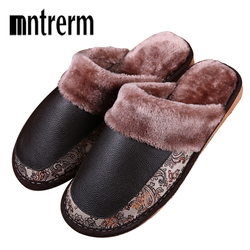 Mntrerm Men's Slippers Winter Genuine Leather Slippers Home Indoor Non-Slip Thermal Slippers 2018 New Hot  Plush Warm Home Shoes