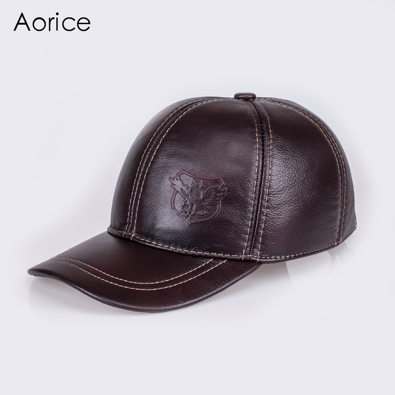 Aorice Keep Warm Cotton Cap Genuine Leather Baseball Cap Hat Brand New Men's Real Cow Skin Leather Hats With 5 Colors HL125 adjustable outdoor keep warm earmuff button baseball cap