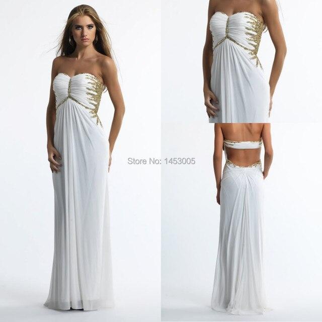 BD 2015 New Chiffon White Evening Dresses Floor Length Sweetheart ...