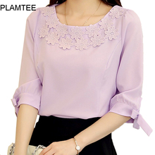 2017 Summer Spring Woman New Loose Bow Puff-Sleeves Shirt Plus Size M~3XL Fashion Leisure Floral Round Neck Female Chiffon Shirt
