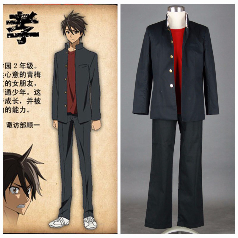 Ainclu Free Shipping HIGH SCHOOL OF THE DEAD Anime Komuro Takashi Men's School Unifrom Customize  Halloween Cosplay Costume