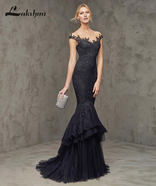 7e16955d649 Elegant Off Shoulder Black Mermaid Prom Dresses with Tiered Skirts Illusion  Back Formal Special Occasion Gowns