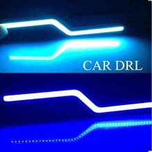 2 pc/lote z forma carro auto drl condução diurna lâmpada led cob luz de nevoeiro branco 12 v luzes diurnas